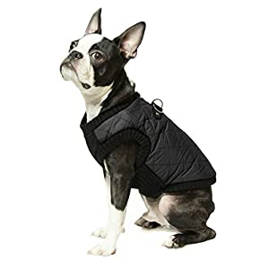 Gooby - Fashion Vest, Small Dog Sweater Bomber Jacket Coat with Stretchable Chest, Black, X-Small
