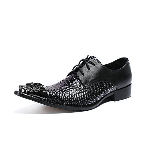 Pointed Crocodile Shoes Color amp; Shoes Spring Oxford A Shoes Leather Size Toe 39 for Top Summer HUAN Party Evening Business Men's Lines Casual Low 6XxwRUP