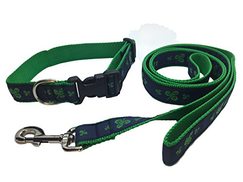 (Preston Shamrock Dog Collar and Leash Set Navy/green Ribbon and Nylon Webbing (Medium))