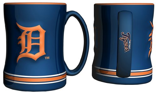 Detroit Tigers Navy Blue 15oz. Ceramic Relief Mug by Boelter Brands