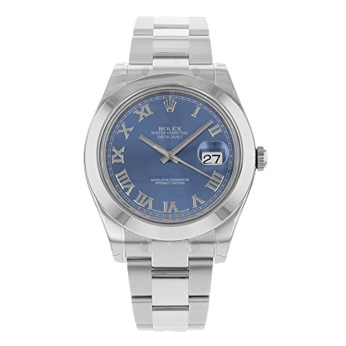 Datejust Dial - NEW Rolex Datejust II 41MM Stainless Steel Blue Dial Roman Oyster Mens watch 116300 BLRO
