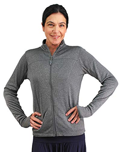 Global Workout Jacket Women Long Sleeve Active Top Thumb Holes Size Large Gray