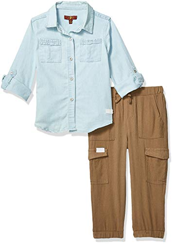 7 For All Mankind Kids Girls' Toddler 2 Piece Denim Shirt and Jogger Set, Light Wash 4T 7 For All Mankind Shirts