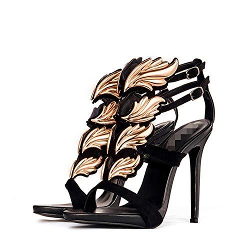 (Sexy High Heels Sandals Leaf Flame Women's Shoes Peep Toe High Heels,jjygg3 Black Gold,9)