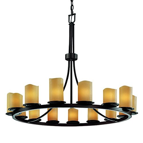 Justice Design Group CandleAria 15-Light Chandelier - Dark Bronze Finish with Amber Faux Candle Resin Shade - Candlearia Chandelier
