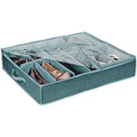 Simplify 12-Pair of Dusty Blue Under The Bed Shoe Storage Box