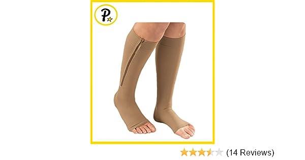 3536caab200 Amazon.com  Presadee® Open Toe Medical Grade 20-30 mmHg Zipper Compression  Socks Circulation Swelling Veins Support FDA Cleared (X-Large
