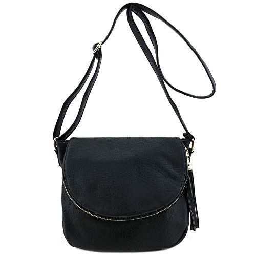 (Tassel Accent Crossbody Bag with Flap Top Black)