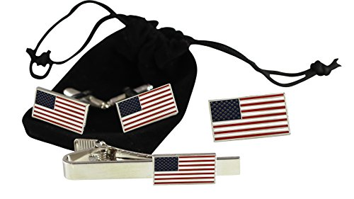 Pin Cufflinks - Official American Flag Jewelry Set-- Lapel Pin + Cufflinks + Tie Bar-- Hard Enamel with Dimensions Of USA Flag 13 Stars 50 Stripes (Silver Tone)