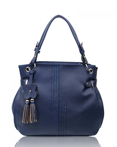 LeahWard? Women's Shoulder Bags Faux Leather Tote Handbags Soft Bag For Her CW16001 Oxford Blue Flower Charm Bag