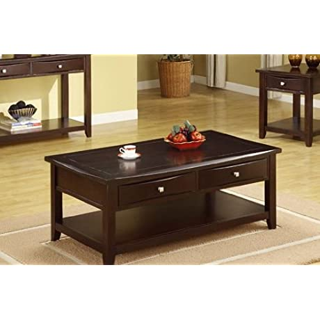 Poundex Coffee Table With Storage Drawers In Espresso Finish