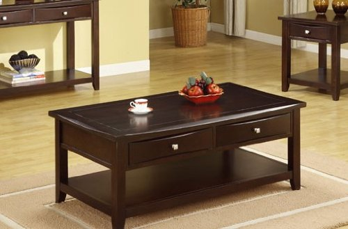 Lovely Amazon.com: Poundex Coffee Table With Storage Drawers In Espresso Finish:  Home U0026 Kitchen