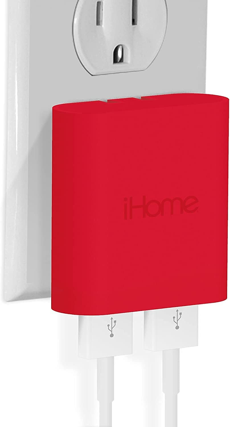 iHome AC Pro 3.4 Amp 2-Port USB Wall Charger, Flat Foldable Plug for iPhone 12/12 Pro/12 Pro Max/ 11/11 Pro/11 Pro Max/Xs,/Xs Max/XR/X/8/Airpods, iPad, Samsung Galaxy Android & More, Pulse Red
