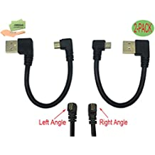 Cerrxian 15cm Micro USB Short Cable Combo Gold Plated Left & Right Angle Micro USB 5 Pin Male to USB 2.0 Type A Left Angle Male Data Sync and Charge Cable for Samsung, HTC, Android and More(2-Pack)