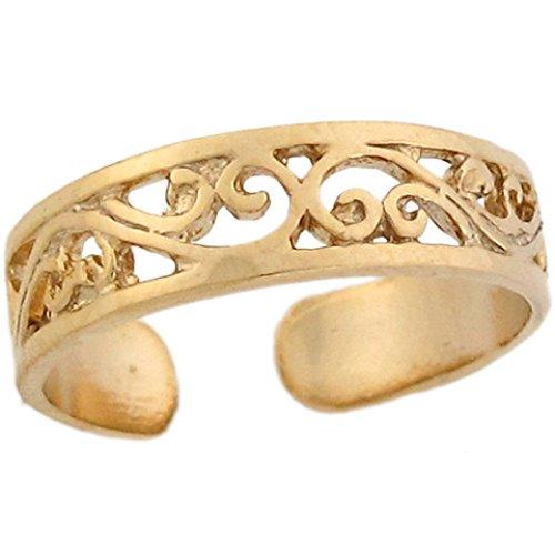 14k Yellow Real Gold Etched Vine Stylish Womens Toe Ring (Stylish Toe Ring)