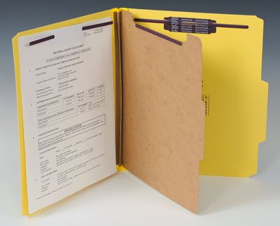 Smead Heavy Duty Partition Folder with 8 Fasteners - 25 PT. (Letter Size) - Yellow (10 Folders) - AB-92-1-07Y