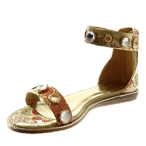 cm Correa de 1 Moda Tobillo Flores Mujer Zapatillas Bordado 5 Oro Angkorly Plataforma Sandalias Joyas CtqwS1nO