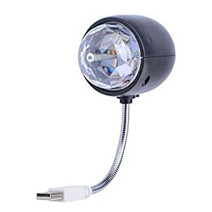 WOWTOU Disco Ball Lamp, Rotating RGB Colored LED Stage Lighting Party Bulb with 3W Book Light, USB Powered (Black)