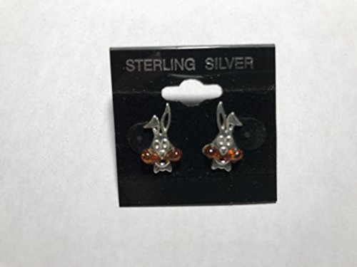 natural baltic amber gemstone rabbit sterling silver stud (Amber Oval Post Earrings)