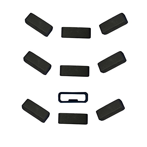 Silicone Fastener Ring Replacement Silicone Fastener Ring Connector Security Loop For Garmin Vivosmart HR/HR+ and Approach x10 Bands(10pcs-black)