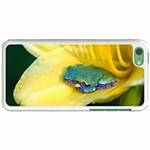 Custom Fashion Design iPhone 5C Back Cover Case Personalized Customized Diy Gifts In Frog flower White