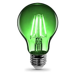 "Feit Electric A19/TG/LED 40W Equivalent 4.5 Watt Dimmable Green Filament Glass, 440 Lumens A19 Transparent 4.5W LED, E26 Medium Base, Clear, 2.4"" D x 4.1"" H"