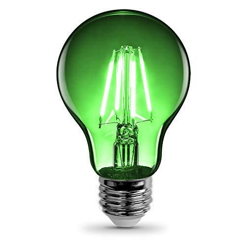 "Feit Electric A19/TG/LED 25W Equivalent 4.5 Watt Dimmable Green Filament Glass A19 Transparent 4.5W LED, E26 Medium Base, Clear, 2.38"" D x 4.44"" H"