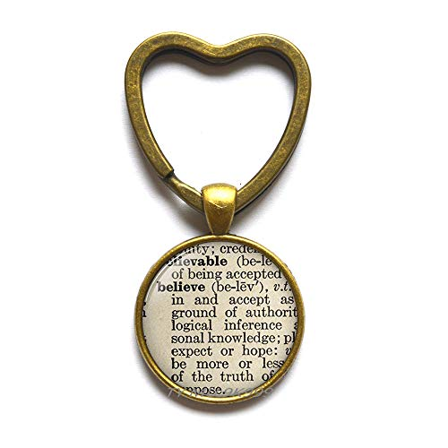 Believe Definition Keychain Charming Dictionary Word Religious Gift Christian Key Ring Trust Jewelry.Y218