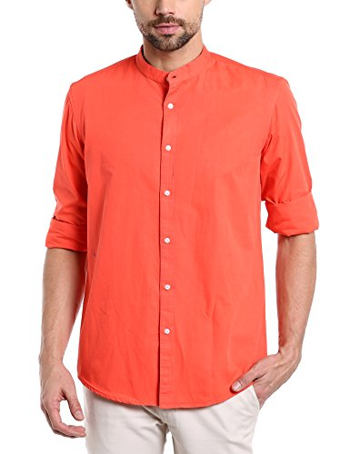 Dennis Lingo Men's Solid Chinese Collar Orange Casual Shirt