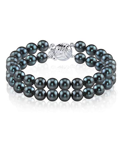 THE PEARL SOURCE 14K Gold 7-7.5mm Round Black Japanese Akoya Saltwater Cultured Pearl Double Strand Bracelet for Women