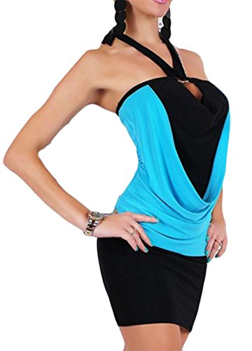 Blue Dress Stitching Cromoncent Halter Sexy Shoulder Women's Open Mini Back Light Colorblock Cold qxZqB74S