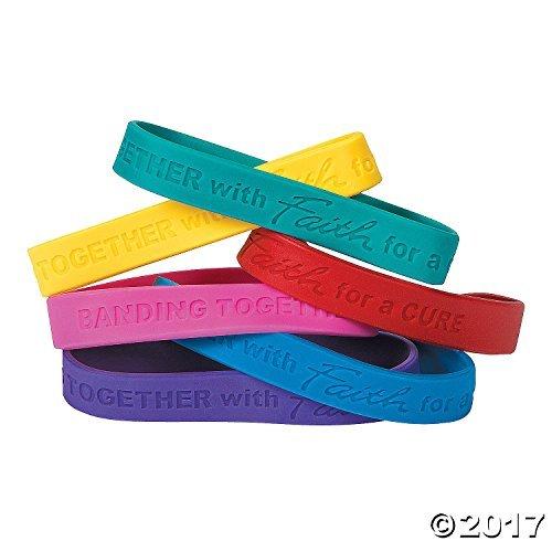 Cancer Awareness Faith Rubber Bracelets (24 Pack) -