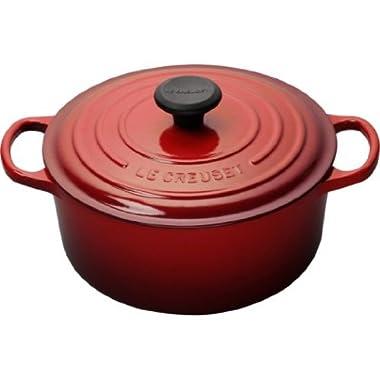 Le Creuset Signature Enameled Cast-Iron 4-1/2-Quart Round French (Dutch) Oven, Cerise (Cherry Red)