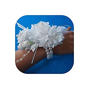 1pc Handcrafted Wrist Corsage Bracelet Artificial Silk Rose Flowers for Wedding Hand Flower Bouquet for Bride Event Supplies 108
