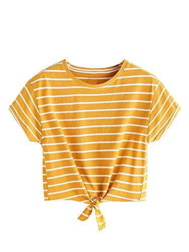 En Nudo Romwe Parte De Mujer Amarillo La Rayas Con Camiseta Delantera xXnB7qnY