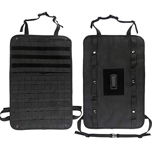 Depring Car Seat Back Organizer Bag with Back Hanger System Tactical MOLLE Panel Vehicle Cover Protector Universal Seat Storage Pouch ()