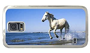 Hipster Samsung Galaxy S5 Case customized cover white horse beach PC Transparent for Samsung S5