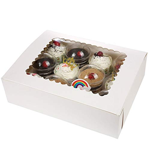 Pro-Quality Bakery Boxes for Cupcakes with Display Window and Cupcake Inserts 12 Pack. Each Recyclable, Bright White Box Displays 1 Dozen Cup Cakes (case of 12) ()