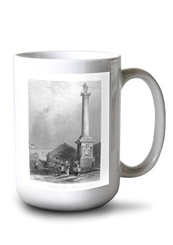 Lantern Press Montreal, Quebec - View of Nelson's Pillar (15oz White Ceramic Mug) ()