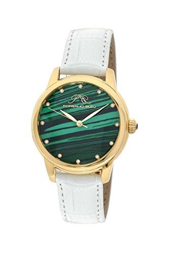 Porsamo Bleu Luxury Gemma Genuine Leather Women's White Malachite & Diamond Watch 732CGEL