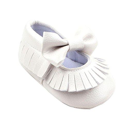 Zapatos de bebé,Tongshi Bebé niñas cuna único suave cálido botón pisos arranque de algodón Blanco