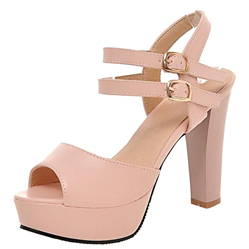 Coolcept Women Fashion High Heel Sandals Ankle Strap Pink
