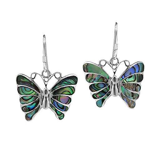 (Stunning Butterfly Inlay Abalone Shell .925 Sterling Silver Dangle Earrings)
