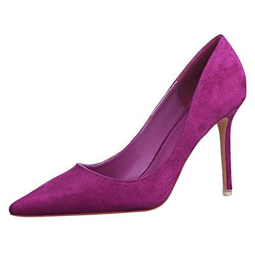 de Purple Para RAZAMAZA Aguja Moda Tacon Zapatos Mujer de qU8UwIT