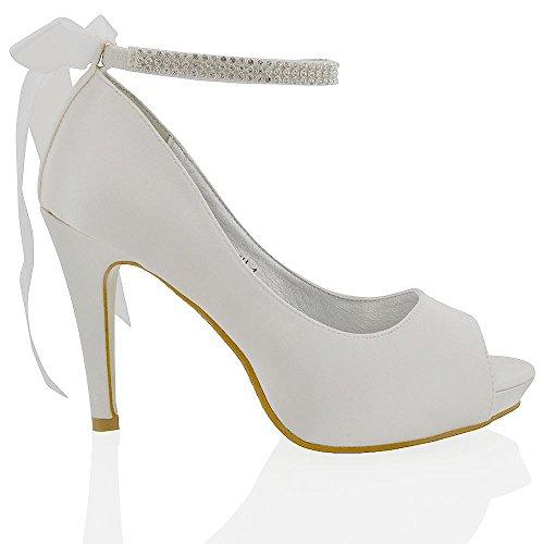 Essex Glam Womens Platfrom Heel Bridal White Satin Shoes 8 B(M) US