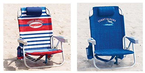 2 Tommy Bahama 2016 Backpack Cooler Beach Chair with Storage Pouch and Towel Bar (Red/White/Blue & Blue Weave) by Tommy Bahama