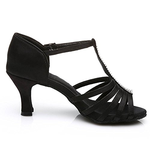 227 S7 Chacha Black Ballroom Dance Satin Latin Standard Modern HROYL 4 UK Samba Women's Shoes XwF7Pvwxaq