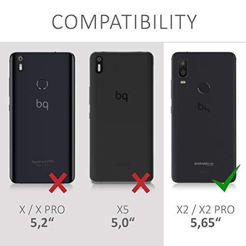 kwmobile Funda para bq Aquaris X2 / X2 Pro - Carcasa para móvil de Cuero sintético - Case Plegable en Negro