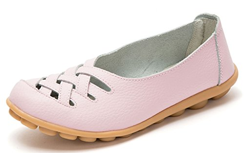 Labato Women's Leather Casual Cut Out Loafers Moccasin Driving Flats Slip-On Shoes Pink-1