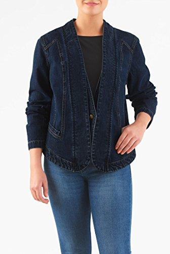 EShakti Women's Deep indigo cotton denim layered blazer S-4 Regular Deep indigo